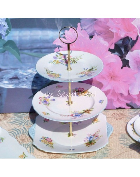 OUT OF STOCK SHELLEY WILD FLOWERS VINTAGE 3 TIER CAKE STAND
